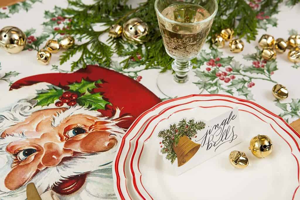 Christmas decorations made in the USA: Hester & Cook paper table decorating items.
