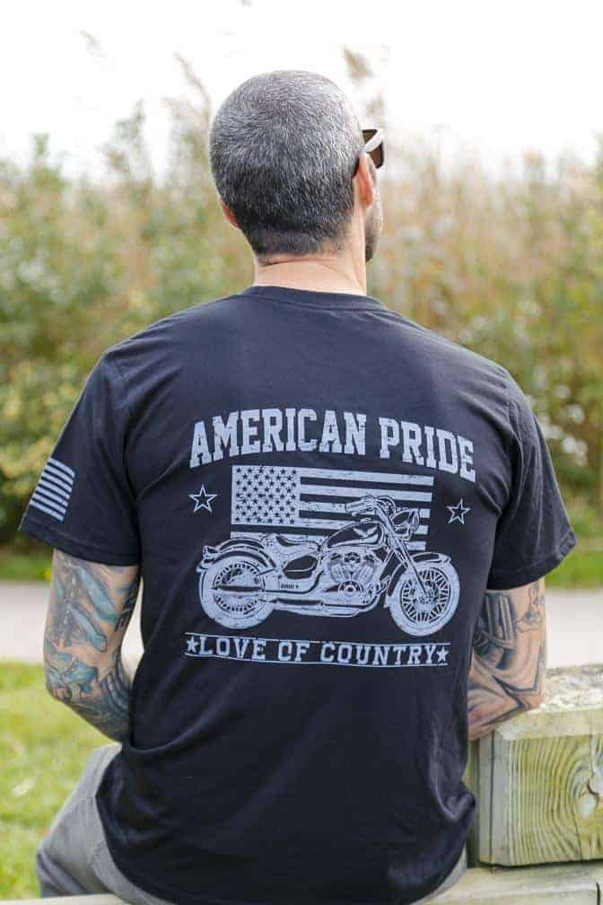 Made in USA T-shirts: Love of Country patriotic graphic tees for men and women are American made from start to finish.