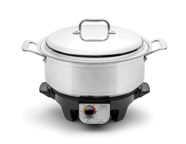 Slow Cookers made in USA: 360 Cookware slow cookers are available in multiple sizes. #slowcooker #madeinUSA #usalovelisted