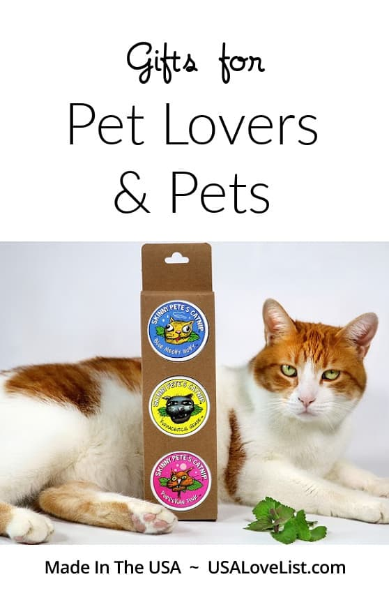 Gifts for Pet Lovers and Pets featuring Skinny Pete's Catnip via USA Love List #petlovers #cats #dogs #giftideas #usalovelisted