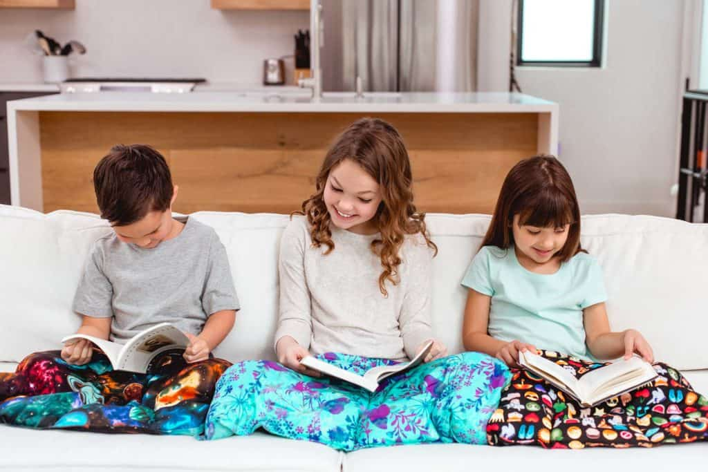 American made blankets: Mosaic Weighted Blankets Grab Bag Weighted Lap Pads- for travel, work, and school #madeinUSA #blankets