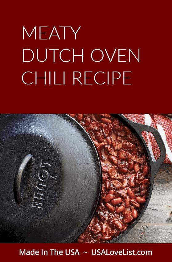 Meaty dutch oven chili recipe via USALoveList.com